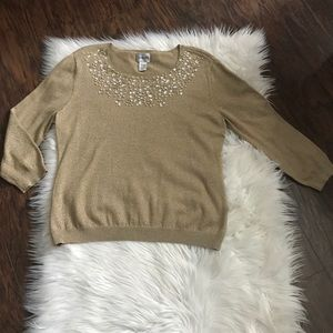 Chico's Gold Speckled Embellished Sweater